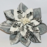 Double layered musical note cotton fabric kanzashi hair flower clip