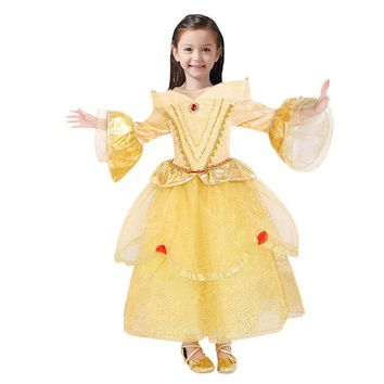 110-150cm princess belle Halloween Beauty and the Beast Costume kid child Girl  birthday gift Costume Dress Cosplay Costume