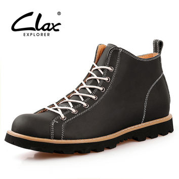 Clax Men's Ankle Boot Spring Autumn Martin Boot Leather Shoe Men British Style Casual Fashion Shoe High Top Chukka Boot