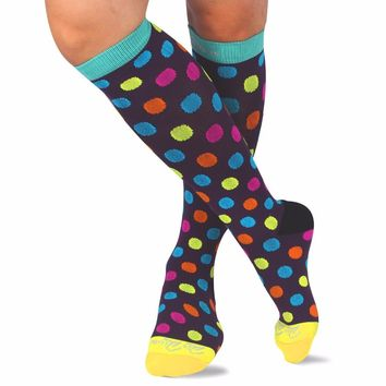 RioRiva Compression Socks with Reinforced Base and Colorful Dot Terry for Women & Men Compression Stocking 20-30 mmHg (1 Pair)