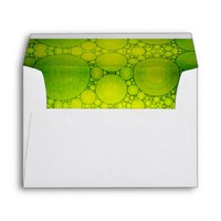 Cute, holiday yellow green bubble photo art lined envelope