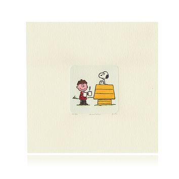 Snoopy & Woodstock Artwork Sowa & Reiser #D/500 Hand Painted Schulz Peanuts Winter Dog House