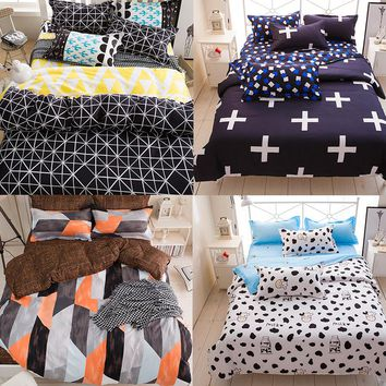 Fashion Cross Black Geometric Cow 4Pcs Twin/Full/Queen/King Size Bedding Quilt/Duvet Cover Set&Sheet Shams Geo Cartoon Bear Cats