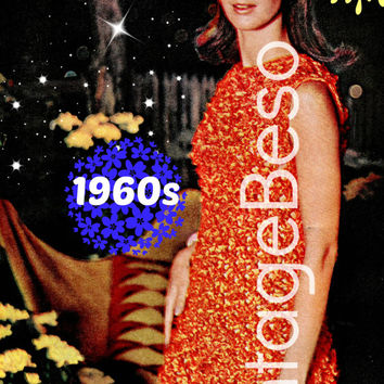 Dress Knitting Pattern Vintage 1960s EASY FIT Tangerine Dress BIG Knitting Needle Ladies Retro Party Dress Instant Download PdF Pattern