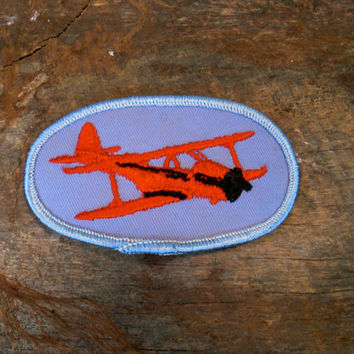 Vintage Airplane Patch, Red Biplane, Airplane Decal, Airplane Art, Vintage Patch, Red Plane, Red and Blue