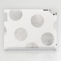 Silver Polka Dots iPad Case by Georgiana Paraschiv