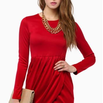 Plain Asymmetrical Long Sleeve Dress