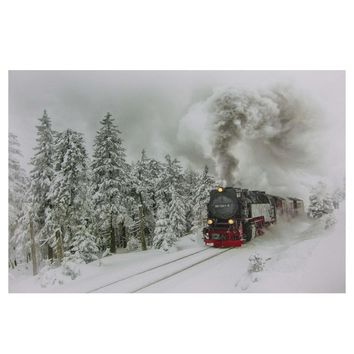"Large Fiber Optic and LED Lighted Winter Woods with Train Canvas Wall Art 23.5"" x 15.5"""