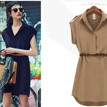 Loose Chiffon T-Shirt Dress with Belt