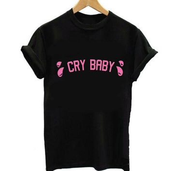 CREYONEJ OPAL FERRIE  -   Pink Cry Baby Letter Print T shirt 100% Cotton