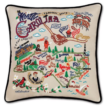 North Carolina Hand Embroidered Pillow