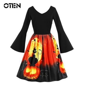 OTEN Women 2018 New Arrival Flare Long Sleeve V Neck Black Cat Pumpkin Print Halloween Party pinup Skater vintage dress big size