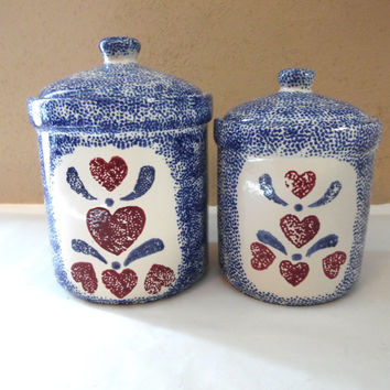 Red Heart Blue Spongeware Canister Storage Containers 2 pc set