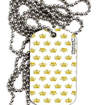 Gold Crowns AOP Adult Dog Tag Chain Necklace by TooLoud