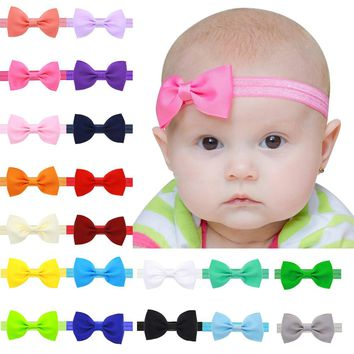 1Pc Newborn Baby Girl Tiny Bowknot Headband Elastic Hair Band Kids Children Solid Hair Bow Hair Accessories bandeau bebe fille