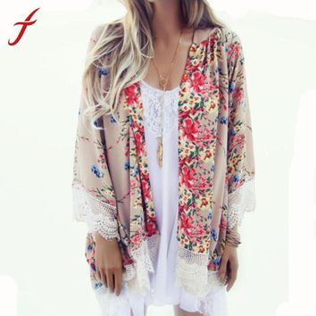 Floral Printed Kimono Cardigan with Fringed Hem Lace Shawl- 5 Colors