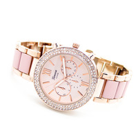 Crystal bezel enamel watch (4 colors)
