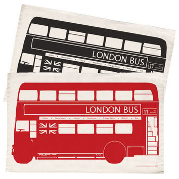 Kitchen Dish Towel - Fabulous Red London Bus Design - Great Gift Idea