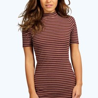 Petite Emma Striped Ribbed High Neck Bodycon