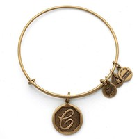 Alex and Ani Initial C Charm Bangle Bracelet - Rafaelian Gold Finish