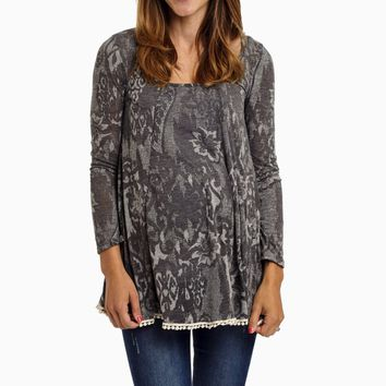 Grey-Printed-Crochet-Trim-Maternity-Top