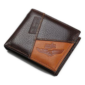 Vintage Genuine Leather Patchwork Trifold Wallet For Men