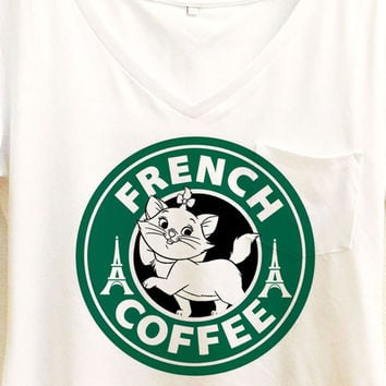 Marie Cat French Coffee Shirt | Aristocats Starbucks  | Disney