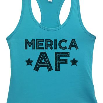 Womens Merica Af Grapahic Design Fitted Tank Top