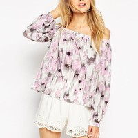 ASOS | ASOS Woven Off The Shoulder Top In Blurred Floral at ASOS
