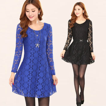 L~3XXXL,4XL! 2016 New autumn winter women work wear plus size sexy lace dress flower elegant femininos Vestido office dress