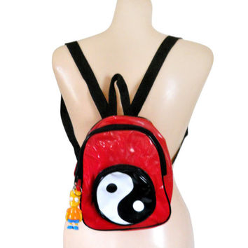 90s Backpack Small Backpack Purse 90s Purse Bart Simpson The Simpsons Ying Yang Red Backpack Red Purse 90s Purse Hipster Bag Little Bag