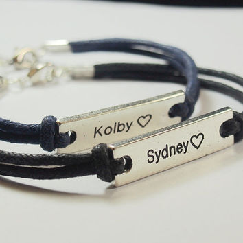 His and Hers Matching Bracelets, Couples Bracelet, Engraved Friendship Leather Bracelets,  Personalized Matching Couples bracelet, matching