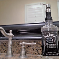 Jack Daniels Whiskey Dispenser / Fathers Day Gift / Boyfriend Gift / Whiskey Gift / Glass Soap Dispensers / Whiskey Lover / Bar / Bottle /