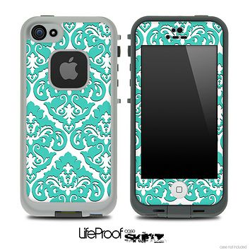 Delicate Pattern White and Green Skin for the iPhone 5 or 4/4s LifeProof Case
