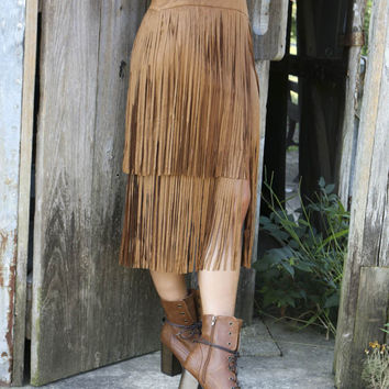 Package Hip Tassel Suede Skirt in Brown or Black
