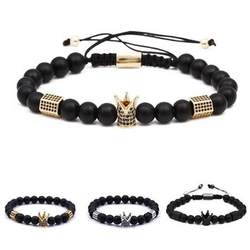 Exquisite Men's  Natural Stone Crown Beaded Bracelet