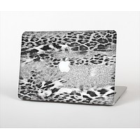 """The White and Black Real Leopard Print Skin Set for the Apple MacBook Pro 13"""" with Retina Display"""