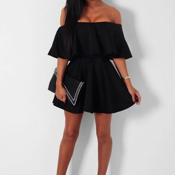 Black Skater Dress with Oversize Frill | Pink Boutique