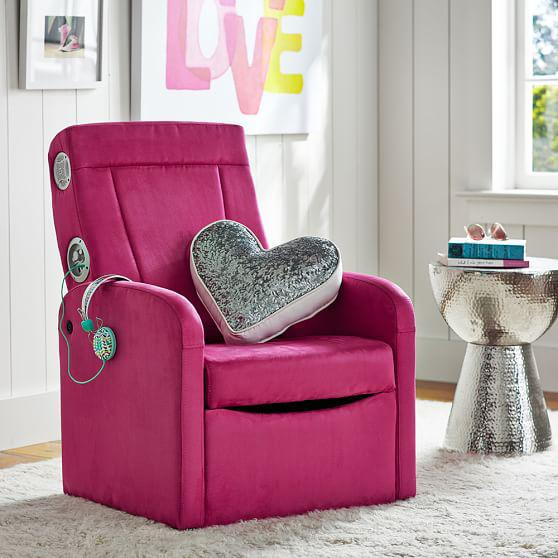 suede flip out ottoman speaker chair from pbteen etc. Black Bedroom Furniture Sets. Home Design Ideas