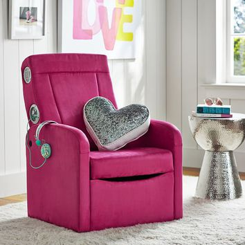 Suede Flip Out Ottoman Speaker Chair from PBteen