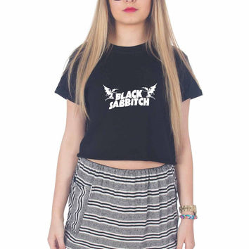 Black Sabbath Logo For Womens Crop Shirt ***