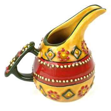 Hand-painted Mexican Ceramic Pottery Mini Creamer in Red - Encantada