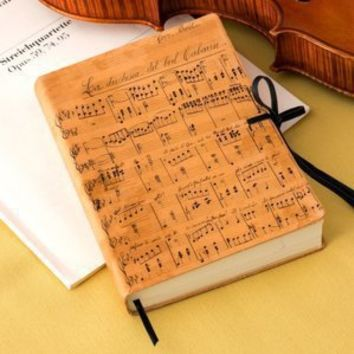 "BARNES & NOBLE | Duchessa Music Notes Italian Printed Leather Journal with Tie (6"" x 8"") by Barnes & Noble"