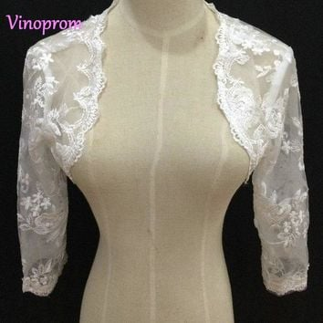 Real Photo Custom Made New Fashioned Bolero Bridal Boleros Dentelle Long Sleeves Lace Wedding Jackets 2018