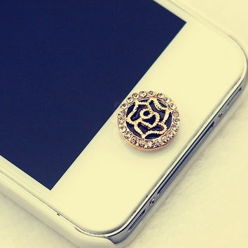Fashion Hollow Our Rose Flower Home Button Sticker for iPhone 4 4s 5 5s = 1645784836