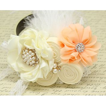 Ivory Coral Flower dog collar, Pearl, beaded, feather flower attached to Ivory, Champagne, Black, Orange, lilac or copper leather collar