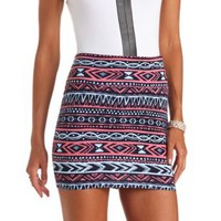 Tribal Print Bodycon Mini Skirt by Charlotte Russe - Navy Blue
