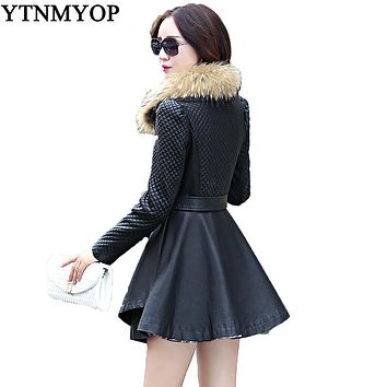 Real Fur Collar Women's Leather Coat 2017 Spring And Autumn Slim Sashes Fashion Ladies Clothing Outerwear Ruffles Jackets