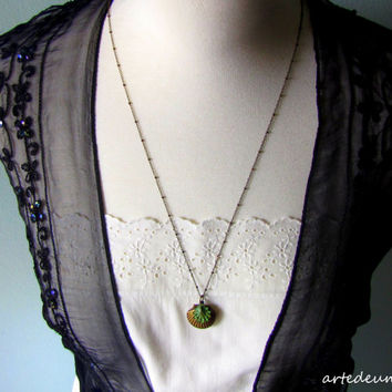Shell Locket Necklace Antique style Verdigris Necklace Sea Jewelry Vintage inspired , Sea necklace