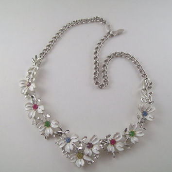 Emmons Necklace; Vintage Rhinestone Necklace; White Flowers, Multi Colored Rhinestones, Signed with Maker's Mark; Valentine's Gift
